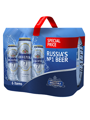 Beer Baltika 7 can, 5.4% alc,  6 x 450 ml, 4/case