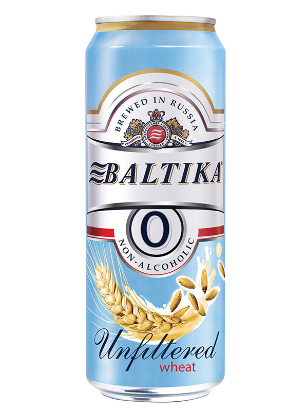 Beer Baltika 0 Wheat, Can 450ml, Non Alc, 24/case