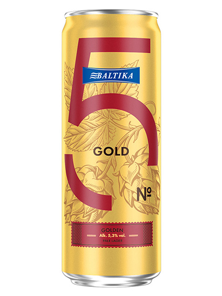 Beer Baltika 5 Golden Pale Lager 5.3% 450ml, 24 case