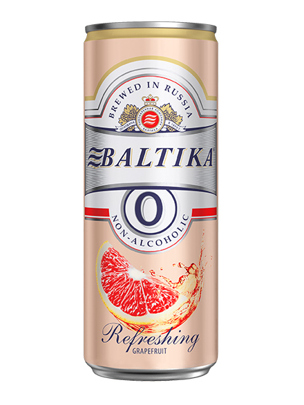 Beer Baltika 0 Grapefruit, Can 330ml, Non Alc, 24/case