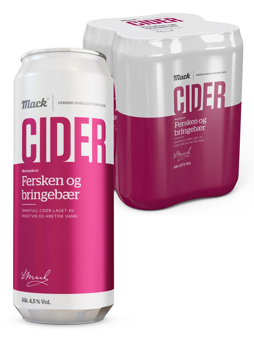 4-pack Peach & Raspberry Cider Mack 4.5% 500ml, 24 cans per case